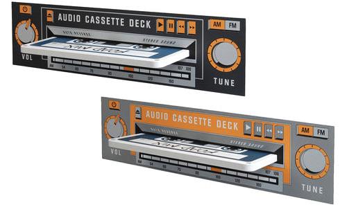 Bokhylla i form av kassettband