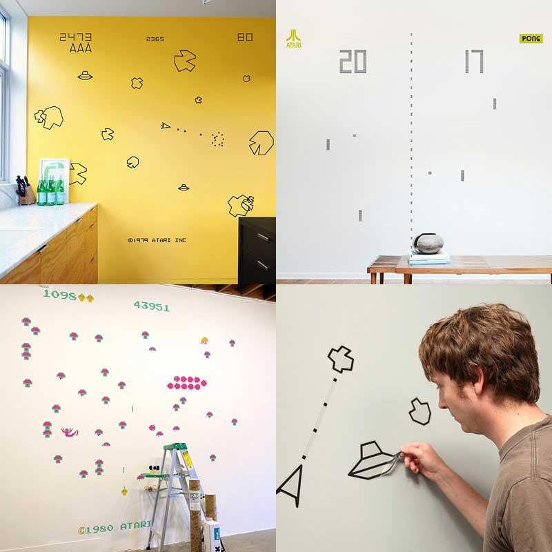 Asteroids och Pong som väggdekorationer